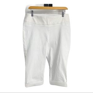 Reitmans elastic waistband white cropped capris Lg